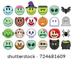 vector set of halloween emojis... | Shutterstock .eps vector #724681609