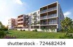 modern residential complex for... | Shutterstock . vector #724682434