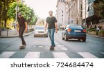 two pro skateboard rider ride... | Shutterstock . vector #724684474