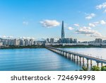 twilight at han river seoul... | Shutterstock . vector #724694998