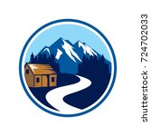 lodge with mountain and river...   Shutterstock .eps vector #724702033