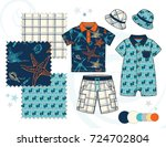 boys' fashion illustration with ... | Shutterstock .eps vector #724702804
