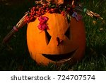 girly carved gouged out pumpkin ...