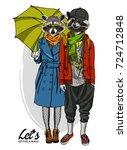 vector raccoons. hand drawn... | Shutterstock .eps vector #724712848