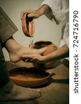 Small photo of Jesus Christ washing the feet of his disciples in sign of humility and service
