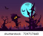 spooky old haunted house with... | Shutterstock .eps vector #724717660