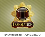 shiny badge with barbell on... | Shutterstock .eps vector #724725670