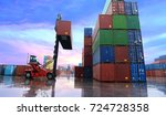 container reach stacker is... | Shutterstock . vector #724728358