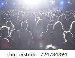 rear view of crowd with arms... | Shutterstock . vector #724734394
