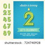 retro birthday party invitation ... | Shutterstock .eps vector #724740928