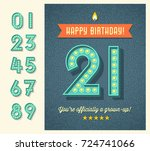 retro birthday greeting card or ... | Shutterstock .eps vector #724741066