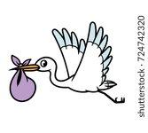cartoon stork and baby bag   Shutterstock .eps vector #724742320