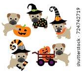 pug dog vector in halloween... | Shutterstock .eps vector #724742719