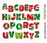 alphabet vector in christmas...   Shutterstock .eps vector #724742734