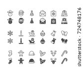 christmas icons  included... | Shutterstock .eps vector #724748176