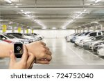 smart watch on hand with... | Shutterstock . vector #724752040