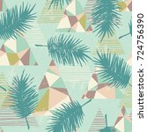 seamless exotic pattern with... | Shutterstock .eps vector #724756390