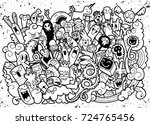 vector illustration of doodle... | Shutterstock .eps vector #724765456