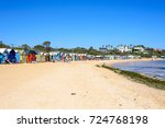 brighton beach and colorful...   Shutterstock . vector #724768198