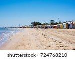 brighton beach and colorful...   Shutterstock . vector #724768210