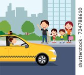 family calling taxi cab in city | Shutterstock .eps vector #724788610