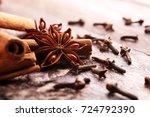 cinnamon  staranise and cloves. ... | Shutterstock . vector #724792390