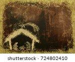 christmas nativity scene... | Shutterstock . vector #724802410