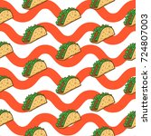 taco seamless pattern vector... | Shutterstock .eps vector #724807003