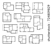 apartment vector plans ... | Shutterstock .eps vector #724809829