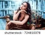 portrait of beautiful woman... | Shutterstock . vector #724810378