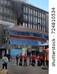 Small photo of Russia, Saint Petersburg, 20,05,2014 A burning business center in the city center