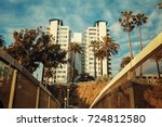 beautiful tall house on a cliff ... | Shutterstock . vector #724812580