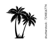 double palm tree silhouette... | Shutterstock .eps vector #724816774