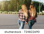 two beautiful smiling girl... | Shutterstock . vector #724822690