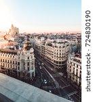 metropolis building in gran via.... | Shutterstock . vector #724830190