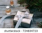 elegant gift in the package and ...   Shutterstock . vector #724834723