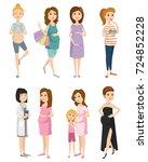 pregnancy motherhood people...   Shutterstock .eps vector #724852228