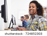 female customer services agent...   Shutterstock . vector #724852303