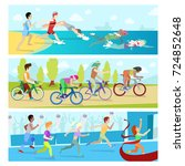 triathlon sport competition... | Shutterstock .eps vector #724852648