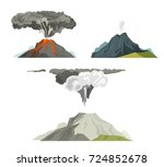 volcano magma nature blowing up ... | Shutterstock .eps vector #724852678