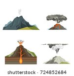 volcano magma nature blowing up ... | Shutterstock .eps vector #724852684