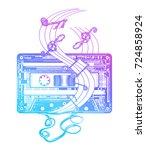 audio cassette tattoo and t... | Shutterstock .eps vector #724858924
