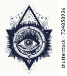 all seeing eye tattoo  tourism... | Shutterstock .eps vector #724858936
