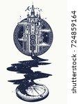 magic castle tattoo art  river... | Shutterstock .eps vector #724859164