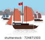 vietnamese sailboat  halong bay ...   Shutterstock .eps vector #724871503