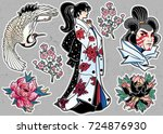 set of flash style japanese... | Shutterstock .eps vector #724876930
