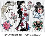set of flash style japanese... | Shutterstock .eps vector #724882630