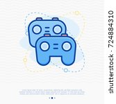 two game controllers thin line... | Shutterstock .eps vector #724884310