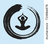 yoga lotus position with enso... | Shutterstock .eps vector #724886878
