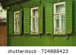 rural lodge of green color ...